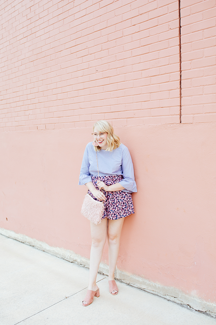 austin fashion blogger writes like a girl bell sleeves floral shorts17