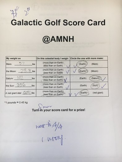 The Galactic Golf Score Card