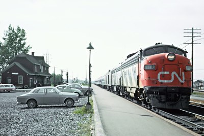 CN FP9 6501 with Train 14, the International Limited arriving at Dorval on September 6, 1965
