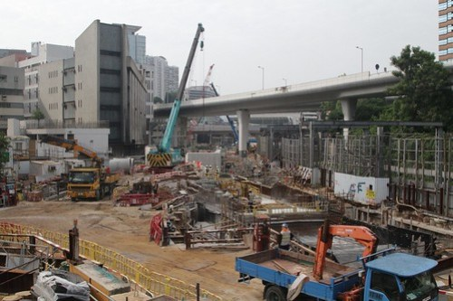 Shatin to Central Link worksite beside the East Rail tracks at Hung Hom