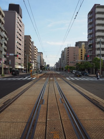 Tram tracks outside our Airbnb