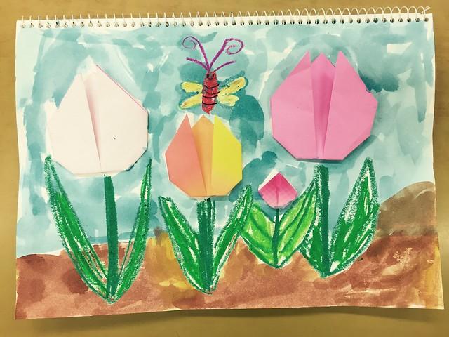 튤립 예쁘게 접기 - 5,6세도 할 수 있는 쉬운 종이접기