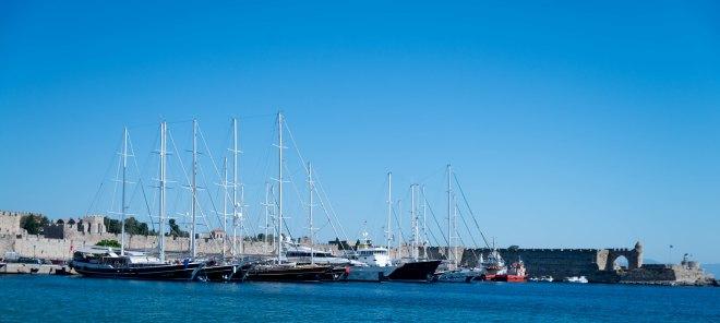 Rhodes harbour sailing ships