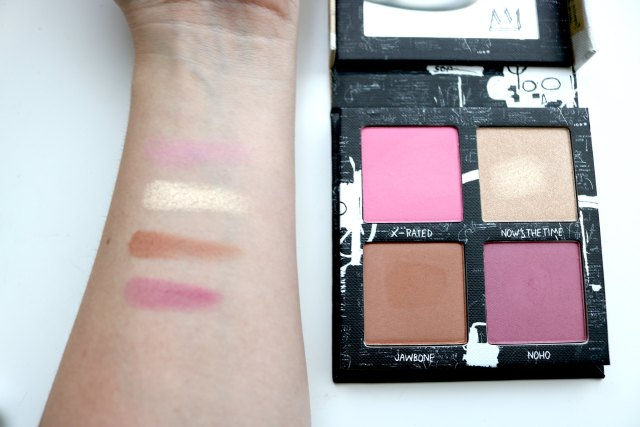 Swatches of the powders