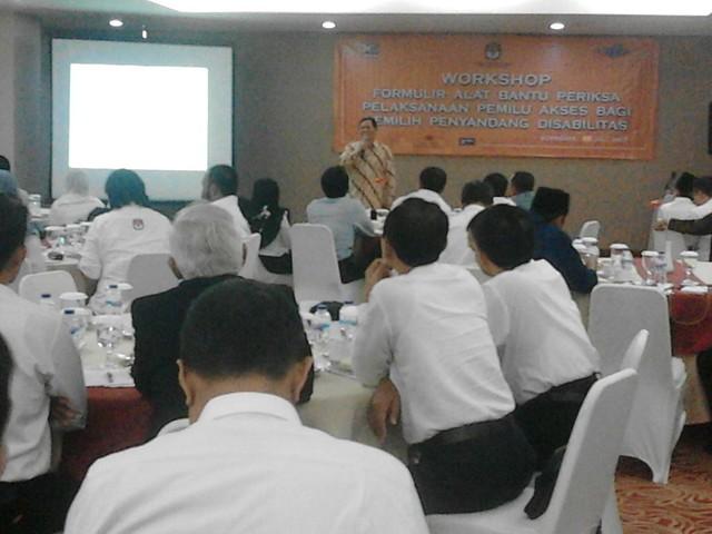 Suasana workshop MENDESAIN PILKADA YANG AKSESIBEL yang diadakan oleh JPPR dan Komunitas AGENDA (20/7)