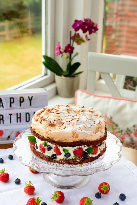 Summer Almond Meringue Cake