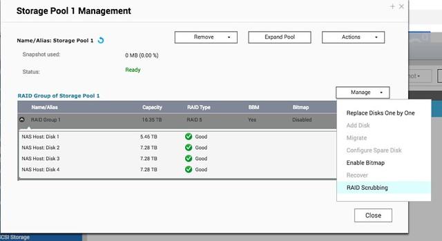 เลือก RAID Group จากนั้นคลิกที่ Manage แล้วเลือก RAID Scrubbing