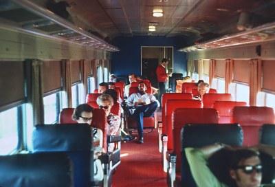 Interior of club car Charleston Lake on CN 144, the Bonaventure (Ottawa Section) near Brockvillr, ONT  on July 4, 1971