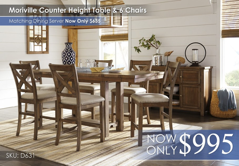 Moriville Counter Height Dining Set D631-32-124(6)-60-R400871