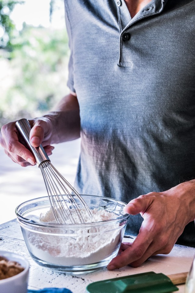 whisking the dry ingredients in one bowl...