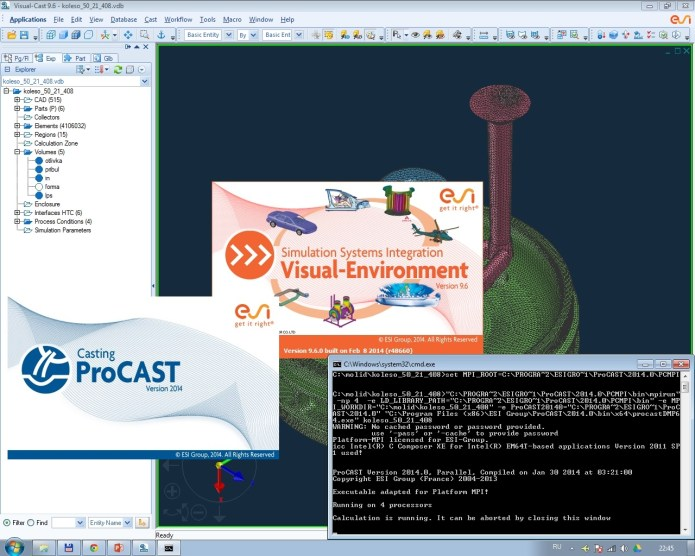 Working with ESI ProCAST v2014.0 + Visual-Environment v9.6 full license