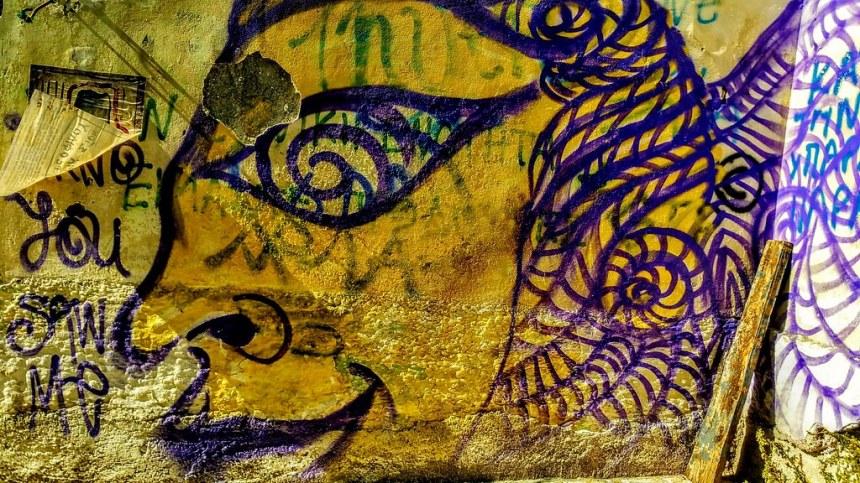 Graffiti corfiote dans un style assyrien