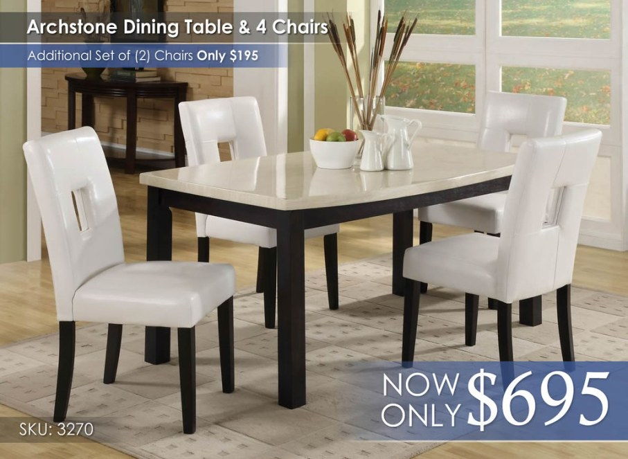Archstone Dining White 3270-64-3270s1w-4pcs-chair