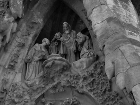 Barcelona Sagrada Familia facade detail B&W copy