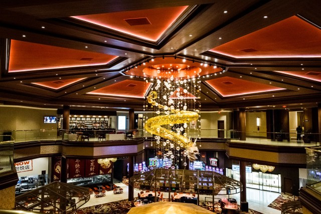 a golden dragon is the glittering centerpiece of the casino