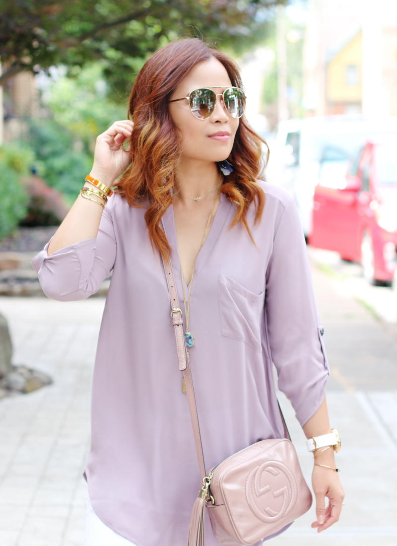 orchid-top-mirror-sunglasses-curled-hair-gucci-bag-2