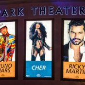 Concert banners at the Park Theater at the Monte Carlo in Las Vegas.