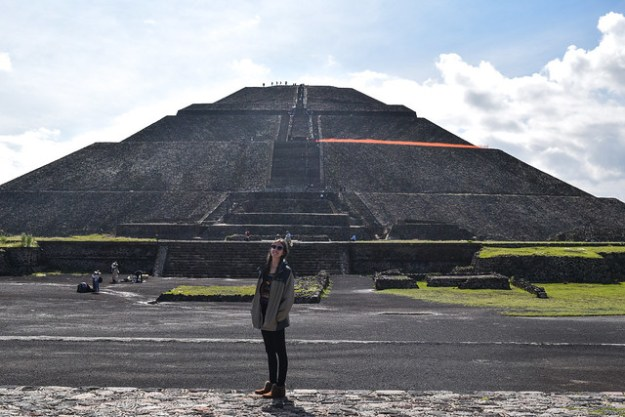 Briana in front of the Pyramid of the Sun
