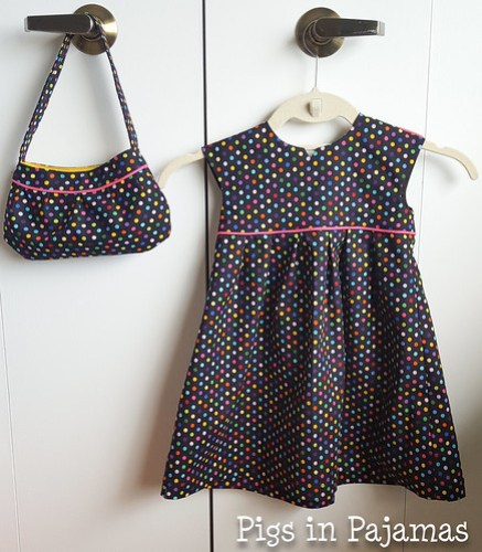 Polka Dot Geranium Dress and Buttercup Bag