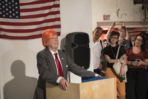 "MARTHA WILSON Performance on July 6    ""Martha Does Donald"" is a 10-minute impersonation of Donald Trump by Martha Wilson. Martha Wilson is a pioneering feminist artist who during the past four decades has created innovative photographic and performance works that explore her female subjectivity through role-playing and ""invasions"" of other people's personae.  She began impersonating political figures in 1982 with Alexander Haig, followed by Nancy Reagan, Barbara Bush, Tipper Gore, and now Donald Trump.  <a href=""https://www.artforum.com/slant/id=64752"" rel=""nofollow"">www.artforum.com/slant/id=64752</a>"