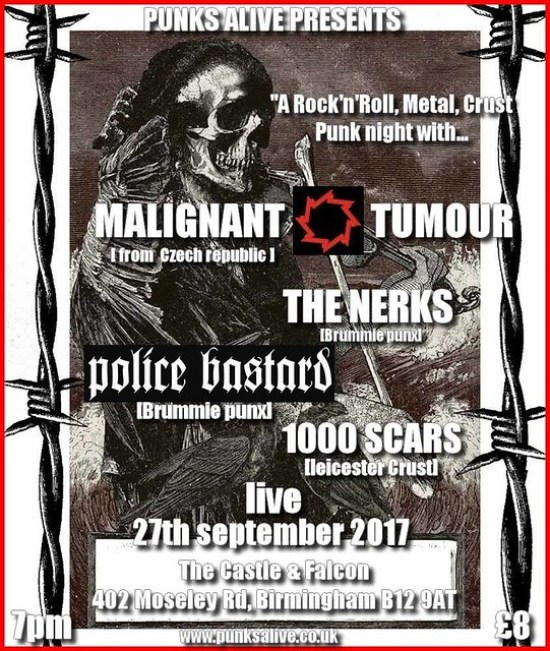Malignant Tumour, The Nerks, Police Bastard, and 1000 SCARS at Castle & Falcon, Birmingham Wed 27th September 2017