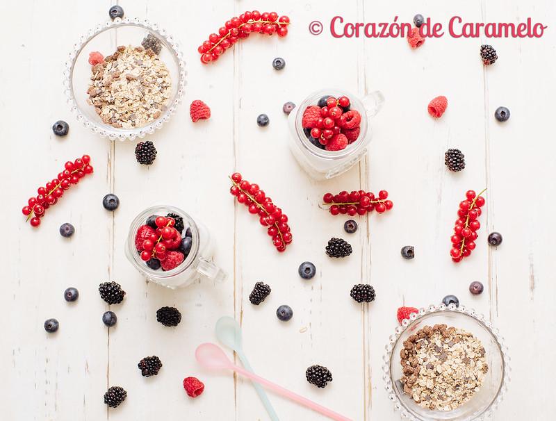 Postre de yogur, frutas y avena