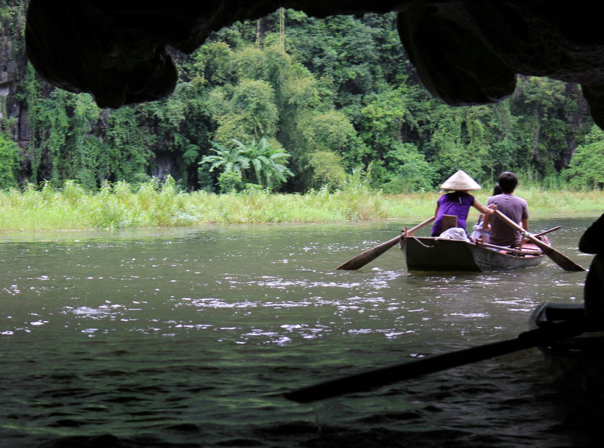 The grottos of Tam Coc are often quite low
