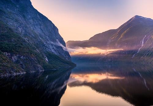 Geiranger fjord sunrise