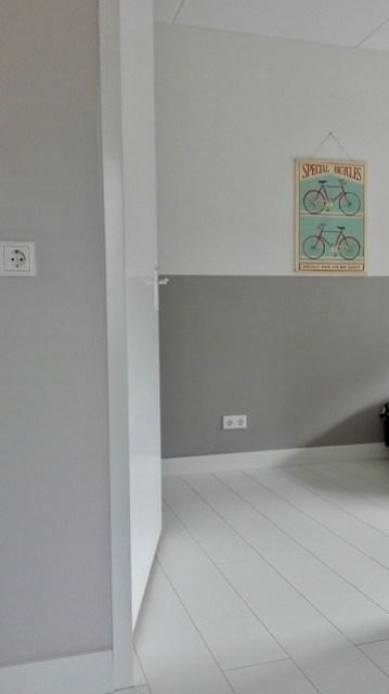 Slaapkamer lichtgrijs poster fiets