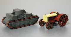 Pre-War Dinky Toys 22f Army Tank and 22e Farm Tractor