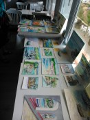 Students watercolor paintings during the workshop in Spain