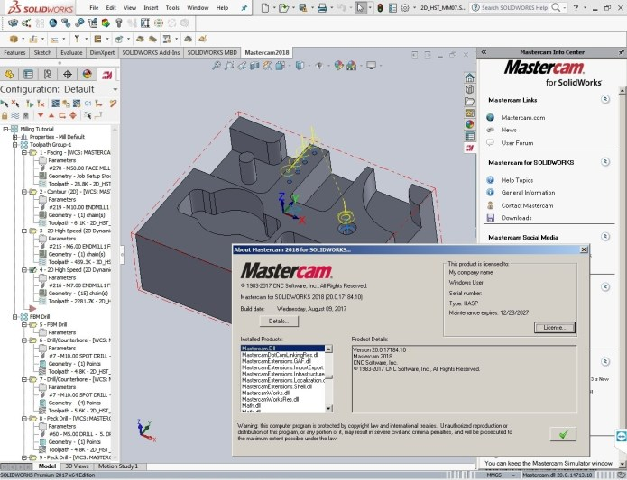 Programming with Mastercam for SolidWorks 2018 Build 20.0.17184.10 full license