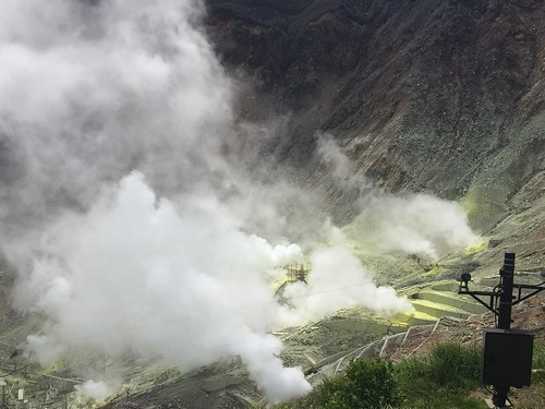 Sulfur-encrusted steam vents at Hakone volcano