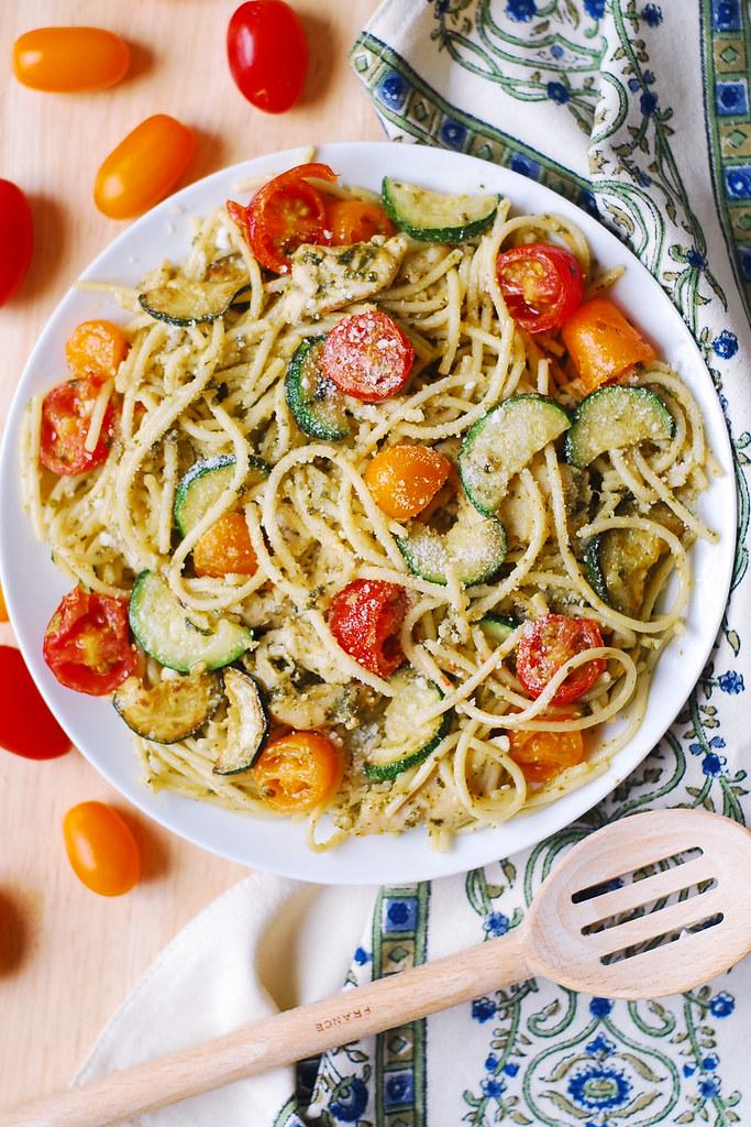 5+ Parmesan Zucchini Tomato Chicken Spaghetti