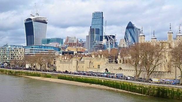 London blue sky cold winter wind
