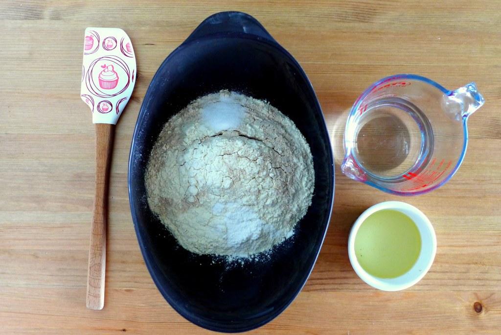 flour, salt and baking powder in bowl