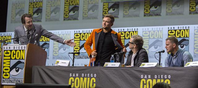 Moderator Jonathan Ross, Taron Egerton, Colin Firth and Channing Tatum