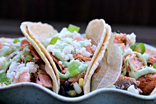 Blackened Salmon Tacos Front Close