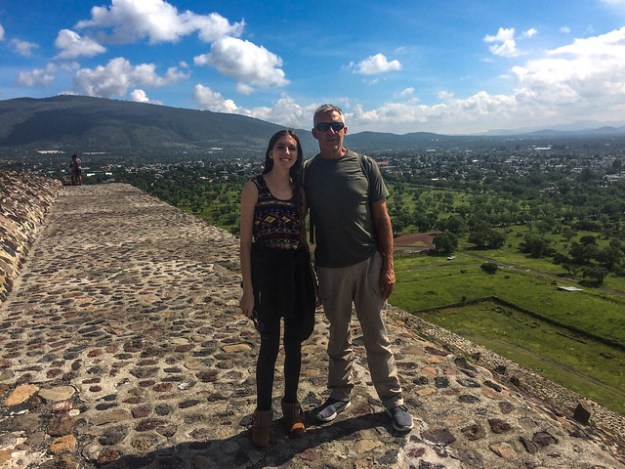 Briana and her father atop Teotihuacan
