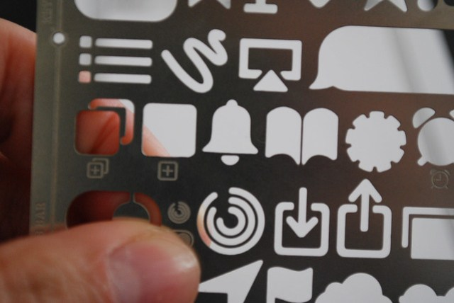 Up close to the UX Store's All in One Stencil for rapid sketching