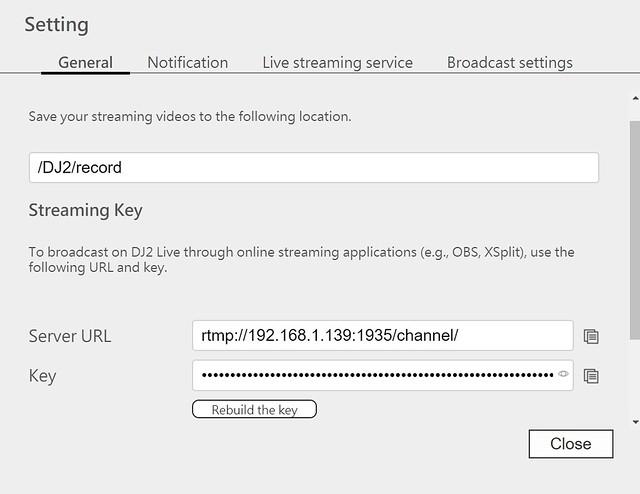 ได้ URL สำหรับ Broadcast server กับ Key ตรงนี้