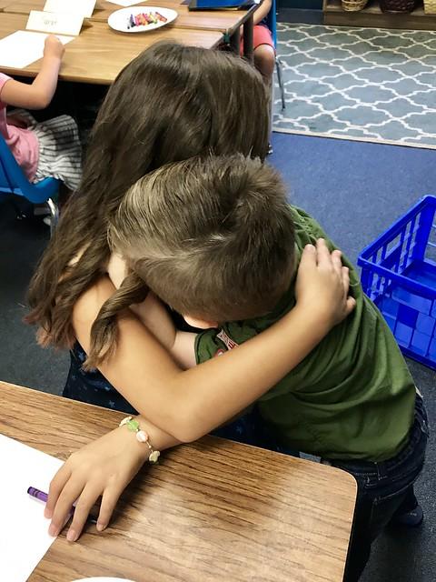 hugging annie goodbye