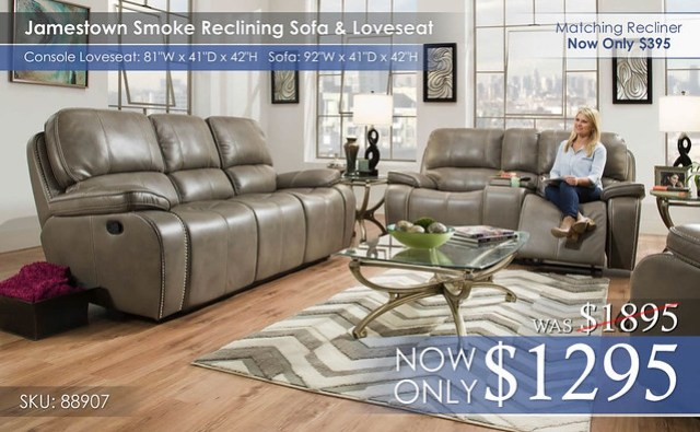 Jamestown Smoke Reclining Set 88907