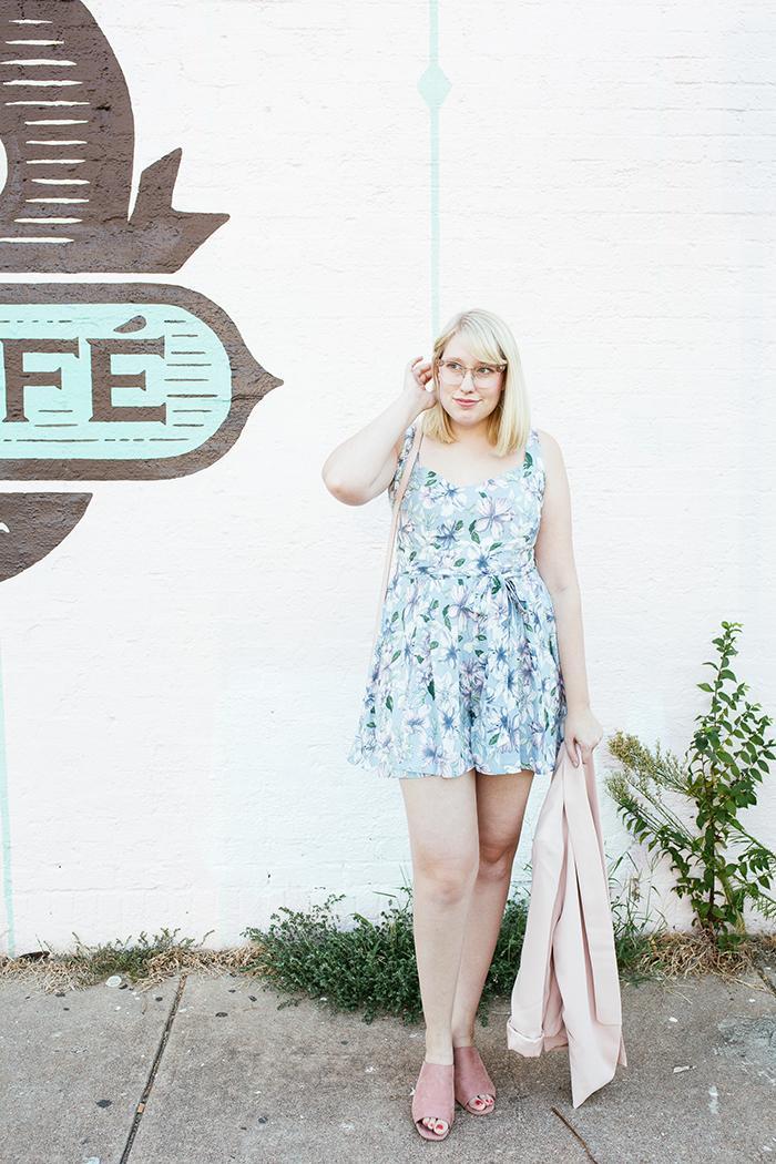 austin fashion blogger writes like a girl pastel floral romper blush blazer8