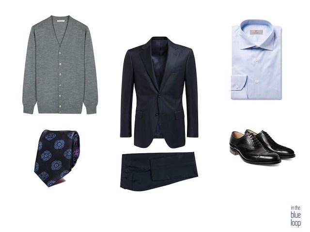 Look masculino con traje azul, corbata, cargando hombre, zapatos oxford y camisa azul