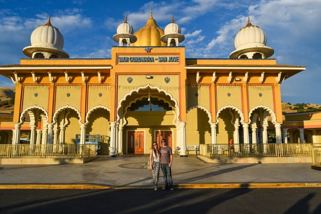 Kyle and Briana in front of Gurdwara Sahib