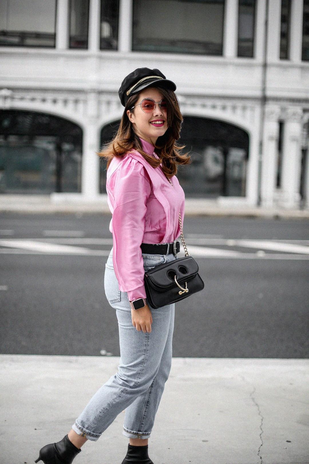 blusa con hombreras rosa asos look back to 80s-12
