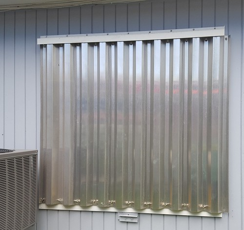 Test run of the hurricane shutters
