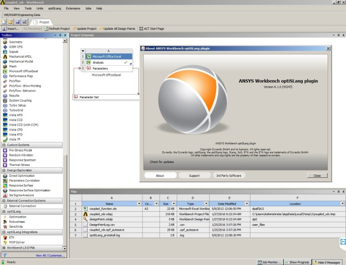 Working with ANSYS Workbench optiSLang 6.1.0.43247