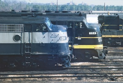 RF&P E8A 1014 With the East Coast Champion and More.   1014 was built in October 1953 and she became Amtrak 222 -- 4 Photos